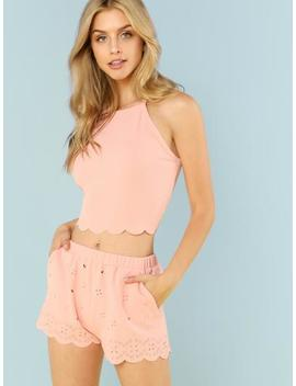 Scallop Trim Cami Top And Laser Cut Shorts Set by Shein