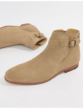 Asos Design Chelsea Boots In Stone Suede With Strap Detail by Asos Design