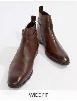 Asos Design Wide Fit Chelsea Boots In Brown Leather With Strap Detail by Asos Design