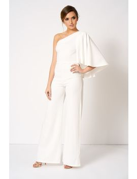 **White One Shoulder Cape Jumpsuit By Club L by Topshop