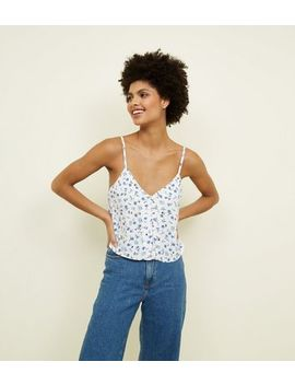White Floral Print Button Front Cami by New Look