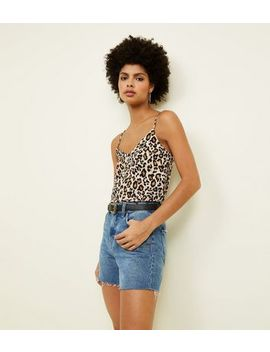 Brown Leopard Print V Neck Cami by New Look