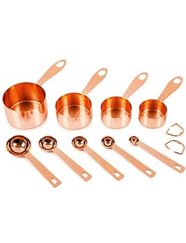 Copper Measuring Cups And Spoons, Set Of 9: Extra Sturdy Copper Plated Top Quality Stainless Steel. Satin, And Mirror Polish. Engraved In Both Us And Metric Ml Measurements. Copper Finish / Rose Gold by Simpler Life   Great Ideas For Your Life