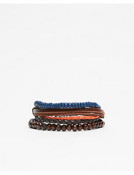 Leather And Bead Stretch Bracelet by Express