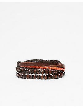 Bead And Leather Stretch Bracelet by Express
