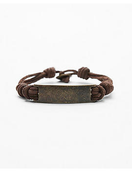 Metal Plaque Leather Bracelet by Express