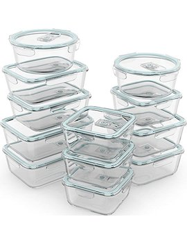 Razab 24 Piece Glass Food Storage Containers W/Airtight Lids   Microwave/Oven/Freezer & Dishwasher Safe   Steam Release Valve Bpa/ Pvc Free  Small & Large Reusable Round, Square & Rectangle Containers by Razab Home Goods