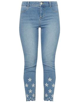 Petite Mid Wash Broderie Jeans by Dorothy Perkins