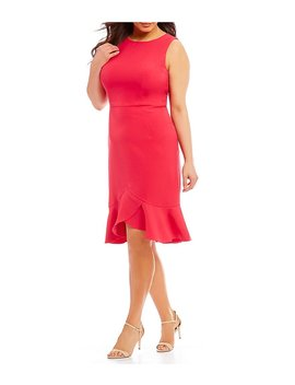 Plus Size Flounce Hem Dress by London Times