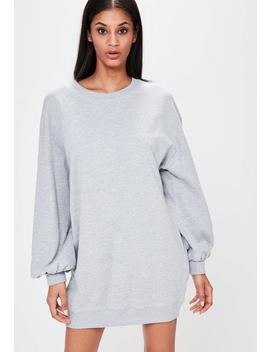 Grey Balloon Sleeve Sweater Dress by Missguided