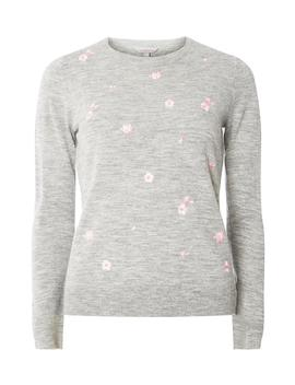 Petite Grey Floral Embroidered Jumper by Dorothy Perkins