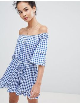 Asos Design Off Shoulder Jersey Romper With Frill Hem In Gingham by Asos Design