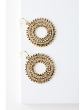 Mosaic Moves Engraved Gold Earrings by Lulus