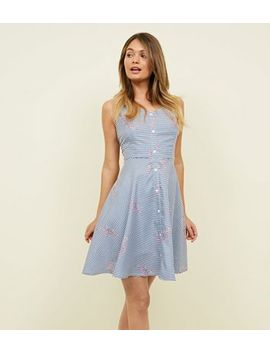 Mela Blue Stripe Floral Button Front Dress by New Look