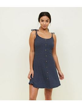 Petite Navy Stripe Button Front Skater Dress by New Look