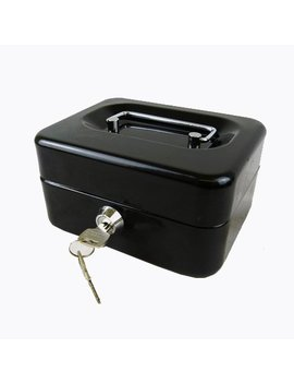 "Hyfive 6"" Black Steel Petty Cash Box Money Holder Security Safe With Keys & Tray by Amazon"