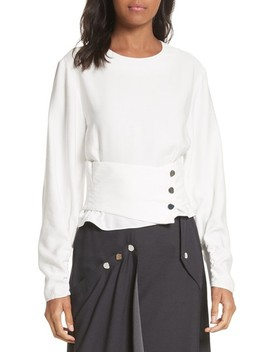 Removable Corset Stripe Shirt by Tibi