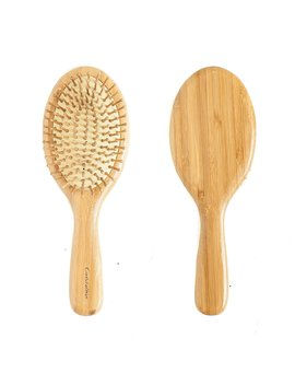 Cristalbox Best Natural Wooden Paddle Hair Brush For All Hair Types, Ball Tipped Bamboo Bristle, Flexible Cushion Base, For Scalp Massage, Detangling, Healthy And Shining Hair, Men And Women, 9 Inch by Cristalbox