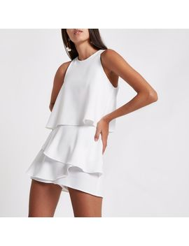 White Tiered Frill Sleeveless Romper  White Tiered Frill Sleeveless Romper by River Island