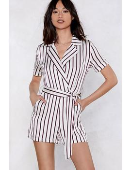 All The Stripe Moves Wrap Romper by Nasty Gal