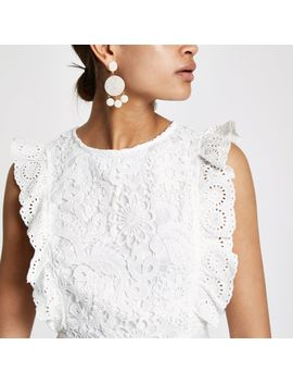 White Lace Frill Sleeveless Romper  White Lace Frill Sleeveless Romper by River Island