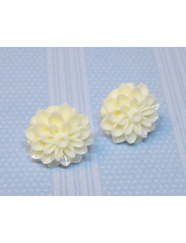 Metal Free Off White Mum Earrings, Chrysanthemum Posts,Nonmetal,Plastic Stud Earrings, Metal Allergies,Sensitive Ears, Spring, Neutral Color by Etsy