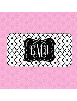 Custom License Plate    Black White Lattice Car Tag   Personalized Car Tag   Monogram License Plate by Etsy