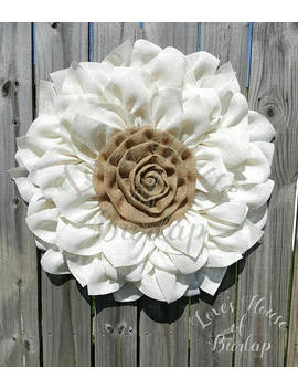 Burlap Flower Wreath, Flower Wreath,  Front Door Wreath, Wedding Wreath, Burlap Wreath, Year Round Wreath, Spring Wreath, Wreath by Etsy