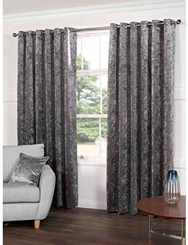 "Kensington Luxury Crushed Velvet Lined Curtains Panels With Grommet Eyelet Top Steel Silver Gray 66"" Wide X 90"" Drop by Tony's Textiles"