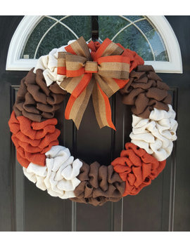 Fall Wreath, Fall Decor, Burlap Wreath, Thanksgiving Wreath, Harvest Wreath, Burnt Orange Wreath, Front Door Wreath,  Autumn Wreath by Etsy