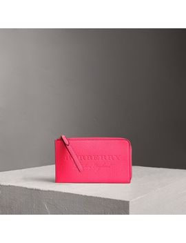 Embossed Neon Leather Travel Wallet by Burberry