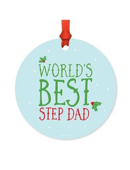 Metal Christmas Ornament, World's Best Step Dad, Holiday Mistletoe, Includes Ribbon And Gift Bag by Andaz Press