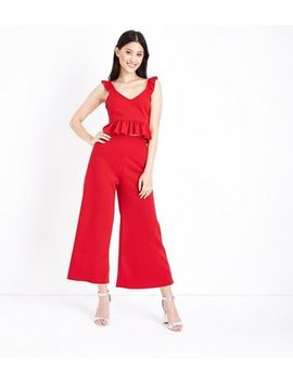 Petite Red High Waist Culottes 				  				 					 				 			 			 					Petite Red Frill Trim Crop Top by New Look