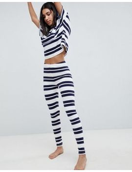Asos Design Wide Stripe Tee And Legging Pyjama Set by Asos Design