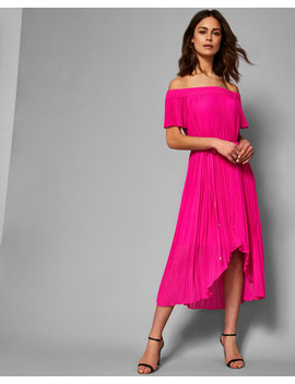 Off Shoulder Dipped Hem Dress by Ted Baker