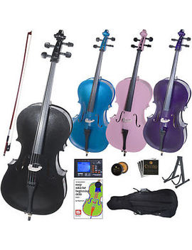 Cecilio Student Cello In Black Blue Pink Purple Size 4/4 3/4 1/2 1/4 1/8 by Cecilio