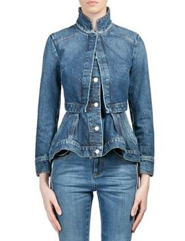 Vintage Double Layer Denim Peplum Jacket by Alexander Mc Queen