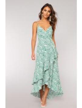 Body Talk High Low Dress   White/Green by Fashion Nova