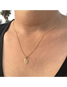 14k Solid Gold   Custom Old English Initial Necklace    Personalized Old English Necklace    Gothic Font Necklace    Gold Monogram Necklace by Etsy