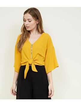 Cameo Rose Mustard Zip Tie Front Blouse by New Look