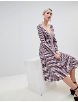 Boohoo Stripe Wrap Midi Dress by Boohoo