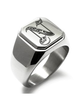 Stainless Steel Letter N Alphabet Initial Royal Monogram Engraved Square Flat Top Biker Style Polished Ring by Tioneer