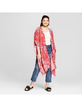 Women's Plus Size Floral Print Kimono   Xhilaration™ Coral by Xhilaration™