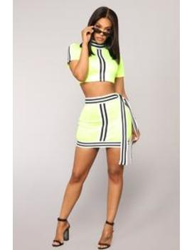 No Apologies Set   Neon Yellow by Fashion Nova