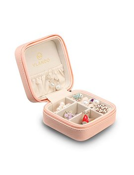 Vlando Macaron Small Jewelry Box, Travel Storage Case For Rings And Earrings   Pink by Vlando