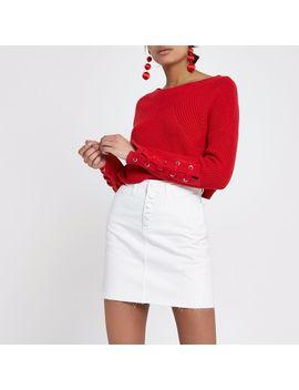 Cream High Waisted Raw Hem Denim Mini Skirt by River Island