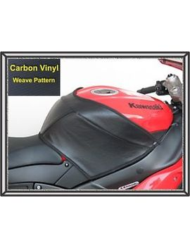 2007   2008 Zx6 R Ninja Targa Tank Cover Black Vinyl Carbon Weave Finish by Targa