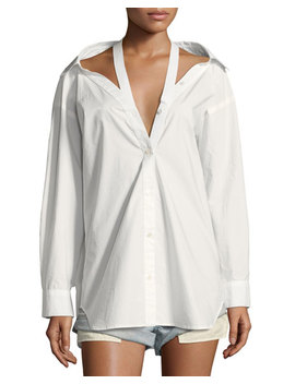 Long Sleeve Cotton Poplin Oversized Shirt With Neck Tape Detail by T By Alexander Wang
