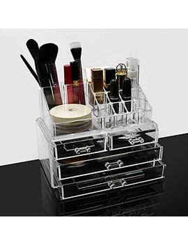 Acrylic Makeup Brush Storage Lipstick Holder Vanity Organizer Tray For Bathroom Countertop 2 Pieces Set, Clear by Zm Youtoo