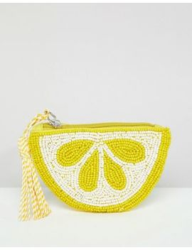 Pull&Bear Lemon Beaded Purse In Yellow by Pull&Bear